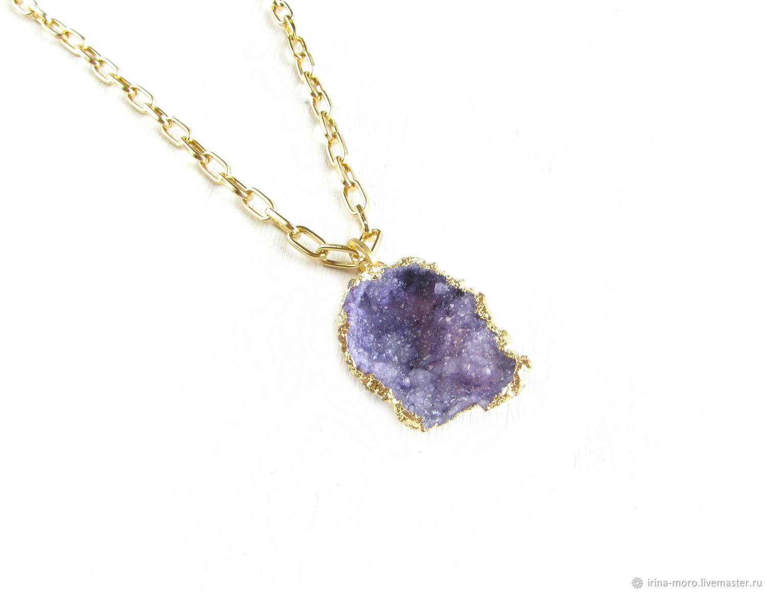 Pendant with Druze agate 'Crocus Petal' purple pendant, Pendants, Moscow,  Фото №1