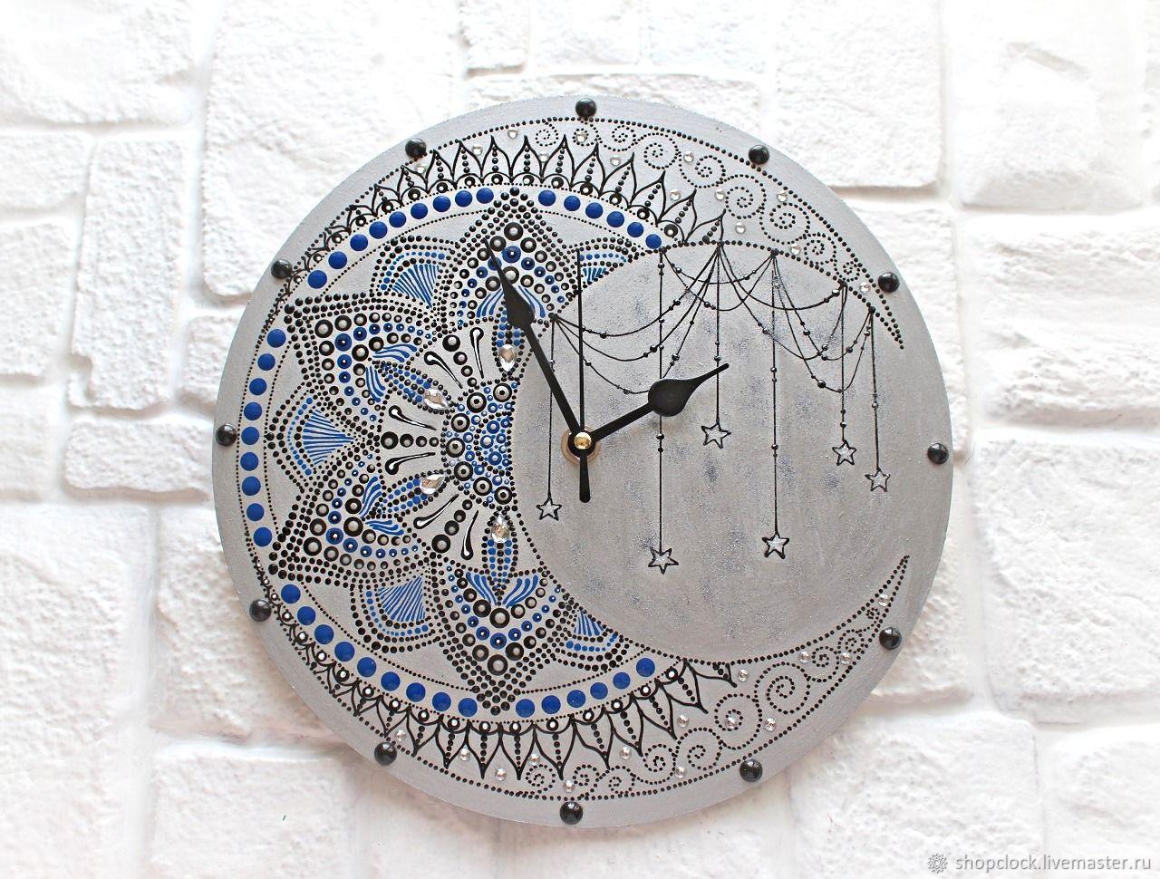 Wall Clock Openwork Moon Silver Background, Watch, Novosibirsk,  Фото №1
