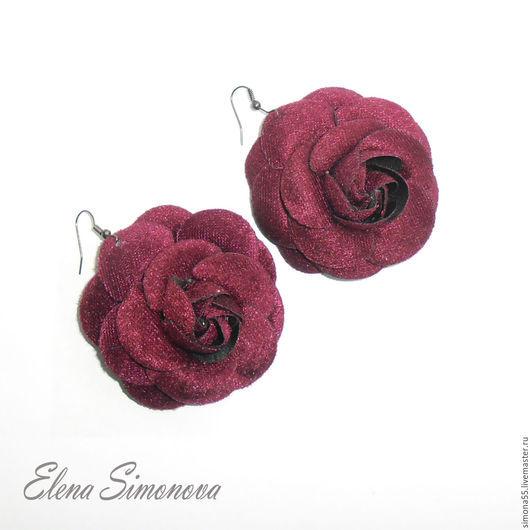 Серьги ручной работы. Ярмарка Мастеров - ручная работа. Купить Серьги крупные бордовые в виде розы  Кармэн. Handmade. Бордовый