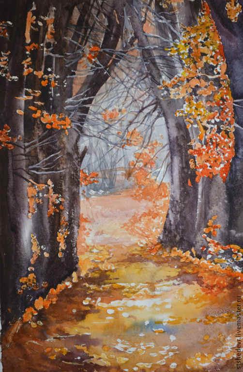 """Пейзаж ручной работы. Ярмарка Мастеров - ручная работа. Купить Акварельная картина """"Волшебство осени"""". Handmade. Рыжий, осенние листья"""