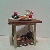"""Куклы и игрушки handmade. Livemaster - original item Стол и табурет для кукольного дома """"Оливковое настроение"""". Handmade."""