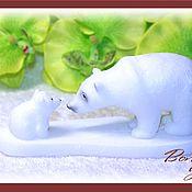 """Материалы для творчества ручной работы. Ярмарка Мастеров - ручная работа Силиконовая форма """"Белая медведица с малышом на льдине"""". Handmade."""