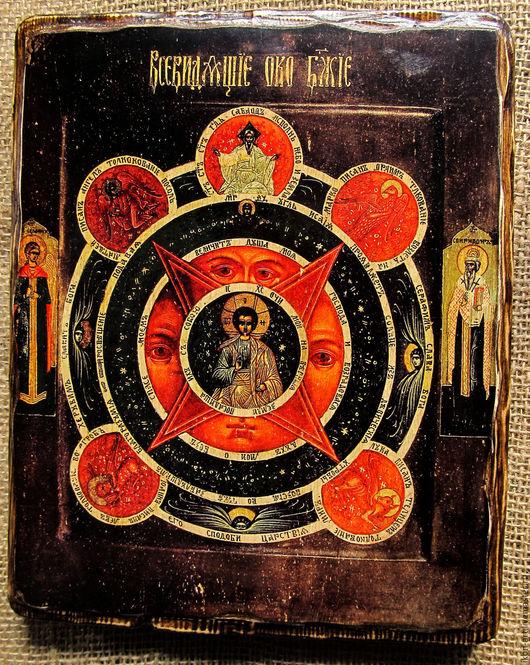 Икона на левкасе ручной работы `Всевидящее око Божие` Икона создана вручную мастером.