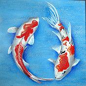 """Картины и панно ручной работы. Ярмарка Мастеров - ручная работа """"Рыбки счастья"""". Handmade."""