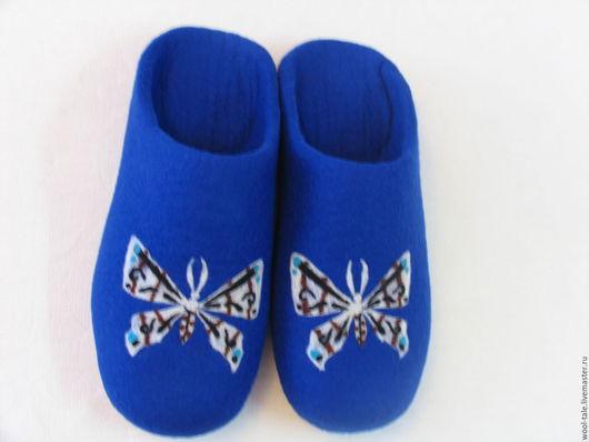 Обувь ручной работы. Ярмарка Мастеров - ручная работа. Купить Валяные тапочки. Handmade. Тёмно-синий, валяные тапочки стильные