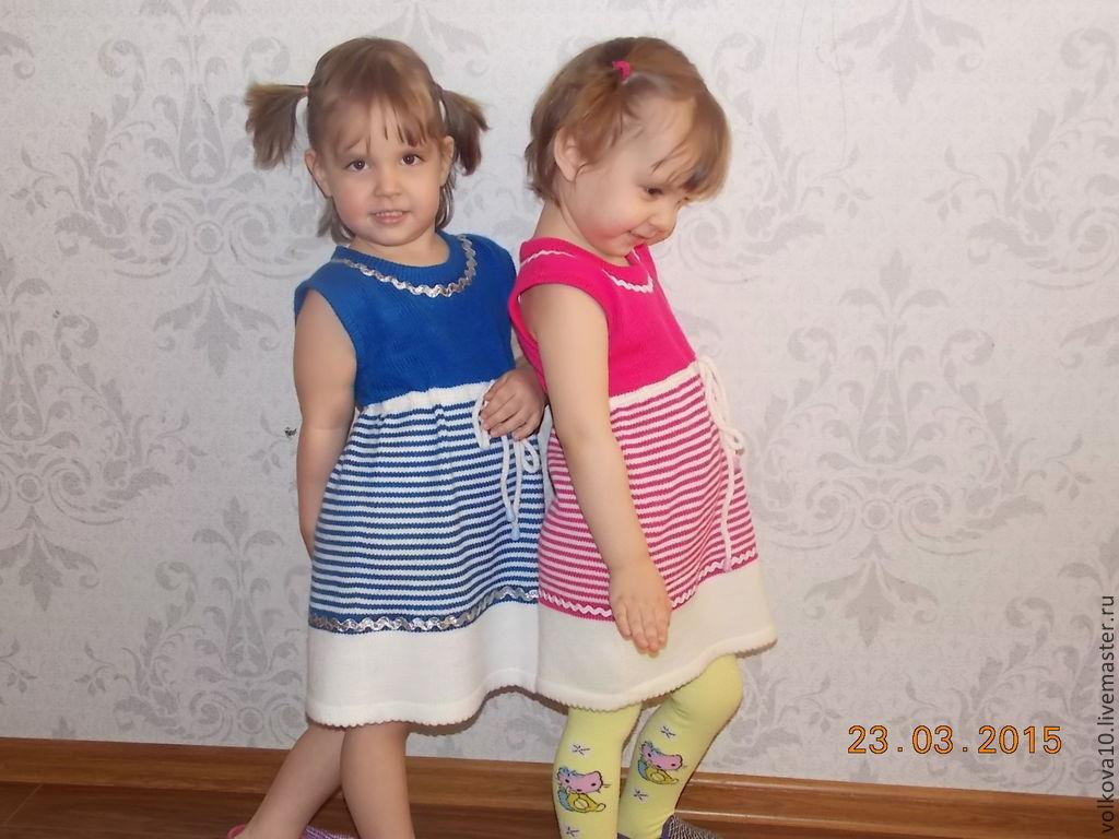 Платье детское вязаное на машинке