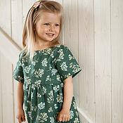 Dress handmade. Livemaster - original item Linen green dress for girl Lydia for spring and summer. Handmade.