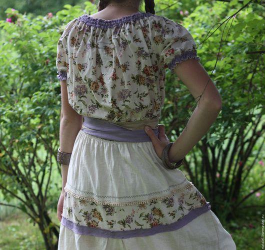"""Платья ручной работы. Ярмарка Мастеров - ручная работа. Купить Платье """"Summer in Provence"""", лен, хлопок, кружево, оборки, винтаж.. Handmade."""