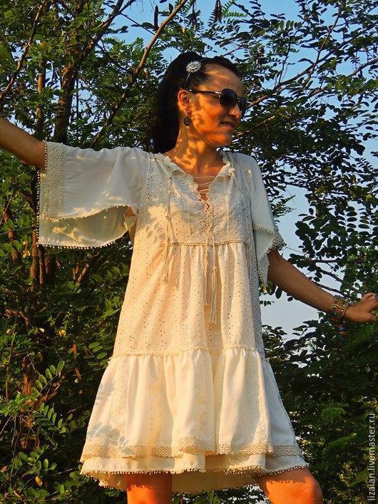 Платья ручной работы. Ярмарка Мастеров - ручная работа. Купить Летнее платье из батиста в стиле БОХО(№18). Handmade. Белый