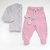 Работы для детей, handmade. Livemaster - original item Children`s knit kit blouse and pants Listopad grey pink. Handmade.