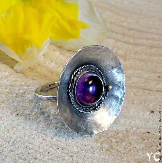 Кольца ручной работы. Ярмарка Мастеров - ручная работа. Купить Фиалковый сад - элитное серебряное кольцо с аметистом. Handmade.
