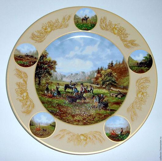 """Винтажные предметы интерьера. Ярмарка Мастеров - ручная работа. Купить Коллекционная тарелка """"Кartoffelernte"""". Handmade. Комбинированный, тарелка сувенирная, для коллекции"""