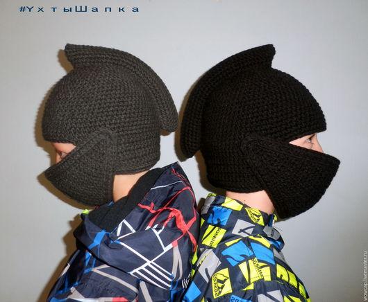 Для мужчин, ручной работы. Ярмарка Мастеров - ручная работа. Купить Шапка Шлем рыцаря. Handmade. Шапка вязаная, ухтышапка