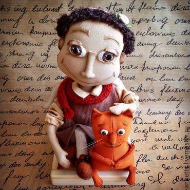 """Куклы и игрушки ручной работы. Ярмарка Мастеров - ручная работа Текстильная игрушка """"Ангел c котейкой"""". Handmade."""