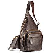 Сумки и аксессуары handmade. Livemaster - original item Leather chest bag Apollo (dark brown antique). Handmade.