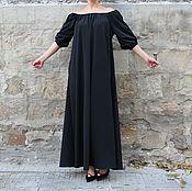 Одежда ручной работы. Ярмарка Мастеров - ручная работа Черное летнее макси коктейльное платье, кафтан, абайя из габардина. Handmade.