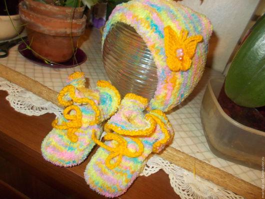 Для новорожденных, ручной работы. Ярмарка Мастеров - ручная работа. Купить Комплект для новорожденного. Handmade. Комбинированный, пинетки для девочки