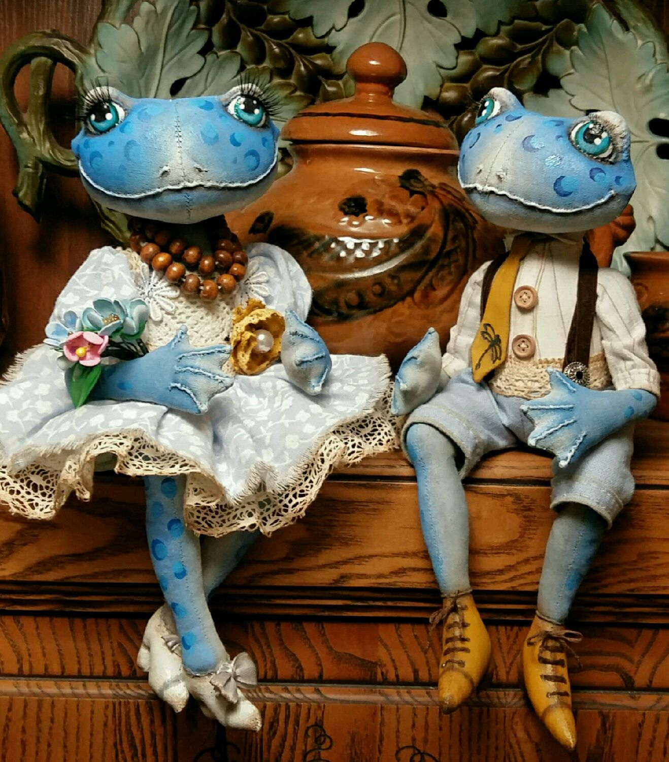 A couple of blue frog. textile doll, Dolls, Pskov,  Фото №1