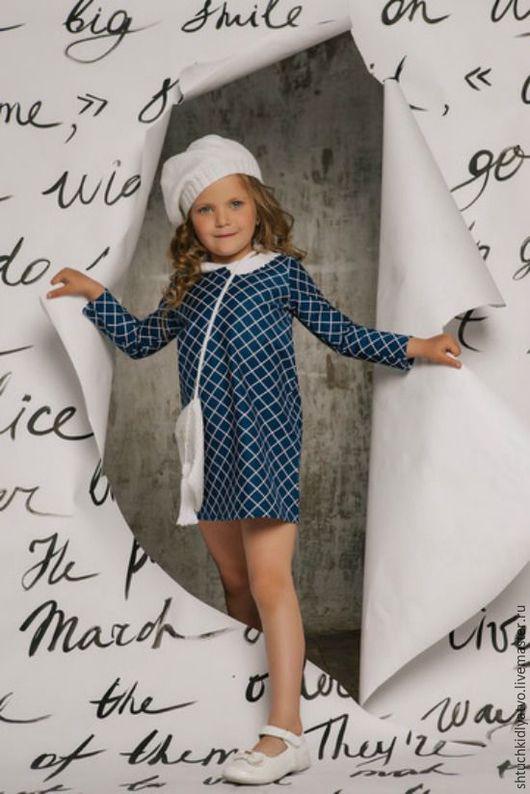 Одежда для девочек, ручной работы. Ярмарка Мастеров - ручная работа. Купить Синее платье в ромб с белым вязаным воротничком. Handmade.