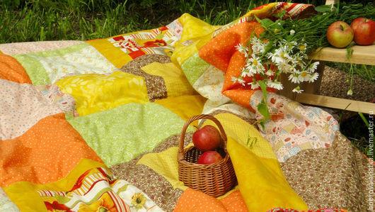 Текстиль, ковры ручной работы. Ярмарка Мастеров - ручная работа. Купить Лоскутное плед одеяло покрывало Яблоки кантри Печворк Подарок женщине. Handmade.