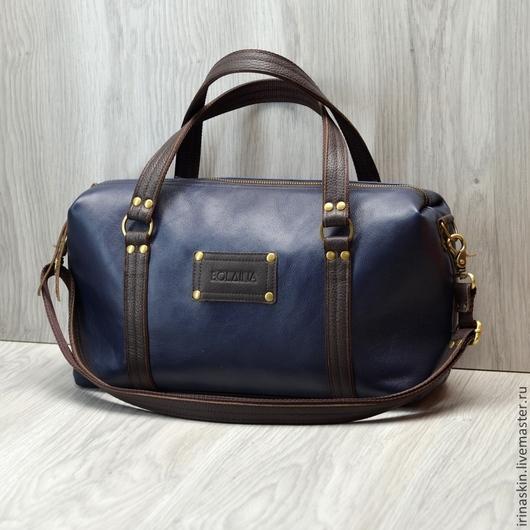"""Женские сумки ручной работы. Ярмарка Мастеров - ручная работа. Купить Кожаная сумка """"Dark sky"""". Кожаный саквояж. Синий, коричневый цвет.. Handmade."""