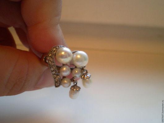Серебряное кольцо с белым речным жемчугом 925 пробы