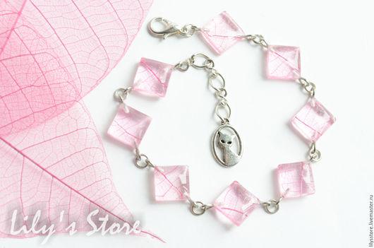 """Браслеты ручной работы. Ярмарка Мастеров - ручная работа. Купить Браслет """"Розовая фантазия"""". Handmade. Розовый, сухоцветы, эпоксидная смола"""