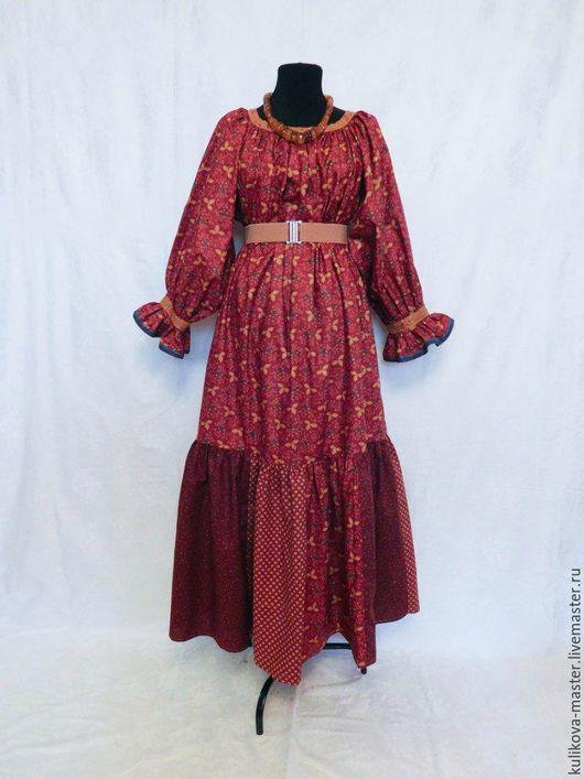 """Одежда ручной работы. Ярмарка Мастеров - ручная работа. Купить Лоскутное платье - """"широковоротка"""". Handmade. Бордовый, русская традиция"""
