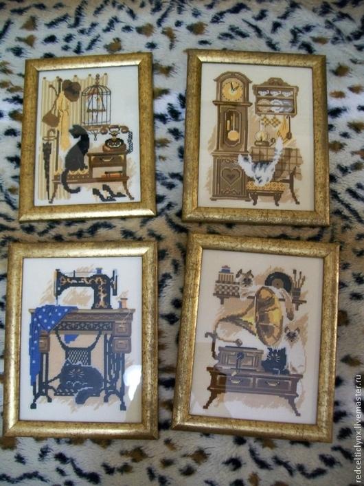 Животные ручной работы. Ярмарка Мастеров - ручная работа. Купить Коты в доме, 4 картины. Handmade. Вышивка крестом, патефон