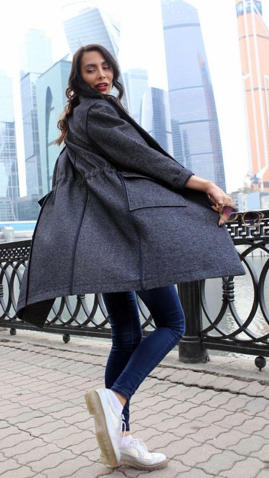 Верхняя одежда ручной работы. Ярмарка Мастеров - ручная работа. Купить Пальто из шертяной джинсы.. Handmade. Комбинированный, красота неземная