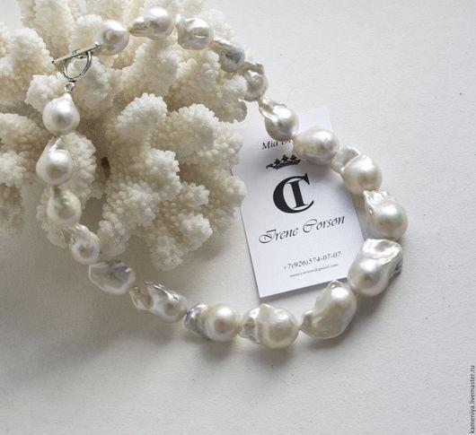 Колье, бусы ручной работы. Ярмарка Мастеров - ручная работа. Купить Ожерелье из крупного жемчуга Барокко и серебра 925. Handmade.