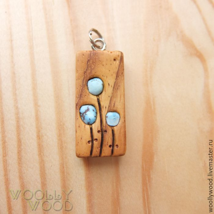 Wooden pendant with turquoise shop online on livemaster with wooden pendant with turquoise woollywoodwoodcarving my livemasterwooden jewelry aloadofball Image collections