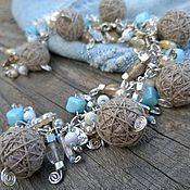 Украшения handmade. Livemaster - original item Bracelet Chain Denim Boho Beige Textile Beads Len. Handmade.