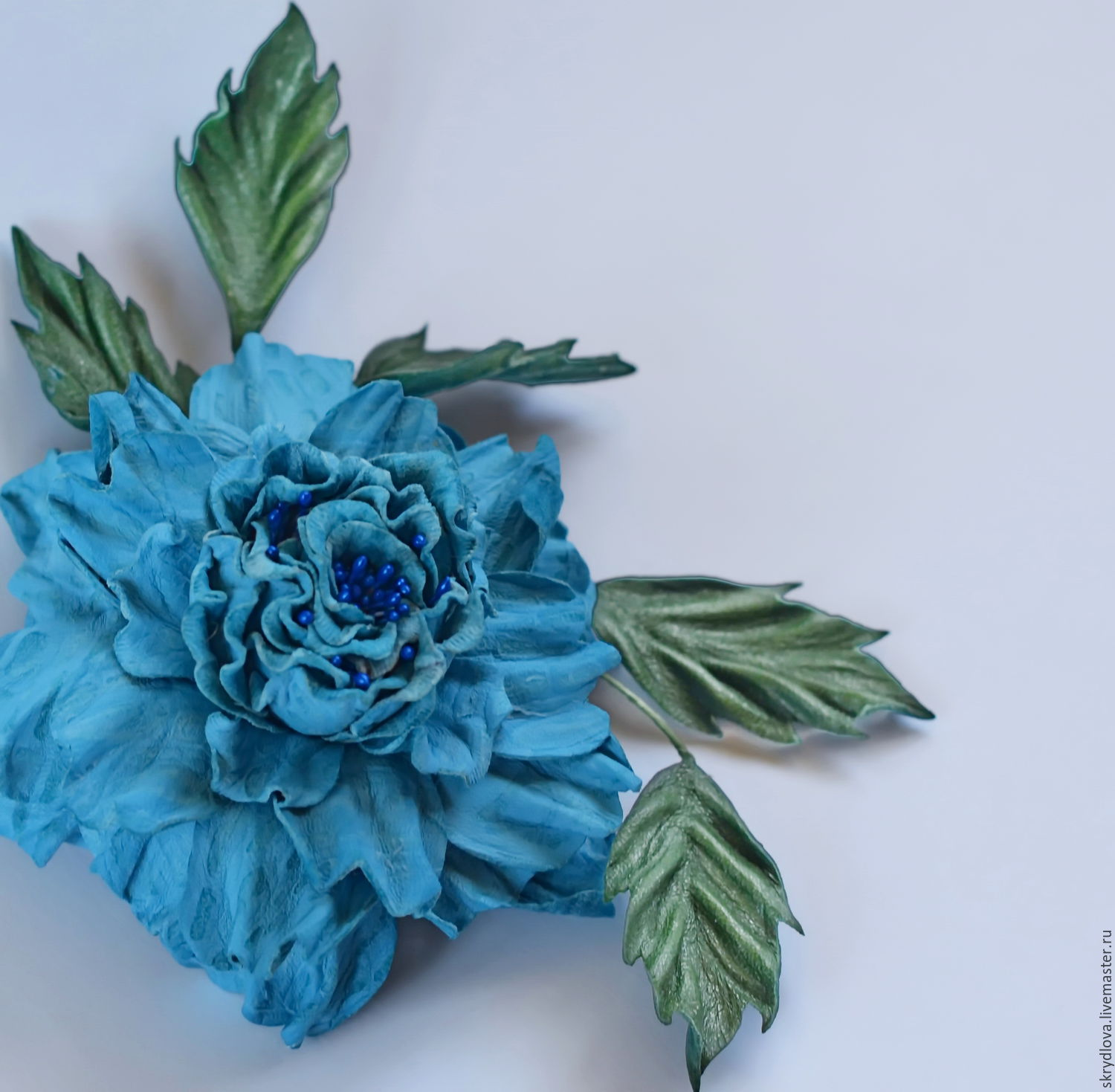 Leather flowers rose-brooch 'Blue dream', Brooches, Lyubertsy,  Фото №1