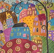 """Аксессуары ручной работы. Ярмарка Мастеров - ручная работа Шелковый платок """"Город"""". Handmade."""