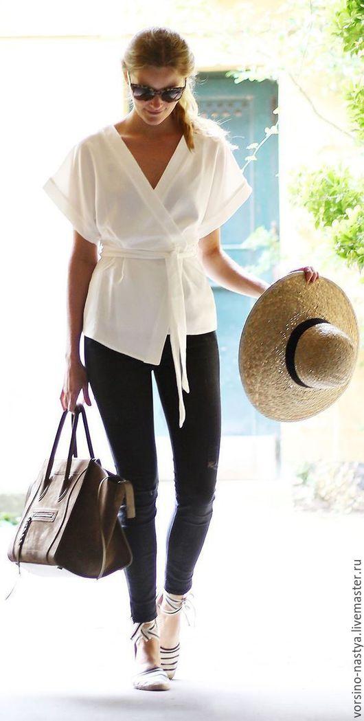 """Блузки ручной работы. Ярмарка Мастеров - ручная работа. Купить Блуза""""Кимоно"""". Handmade. Белый, одежда для женщин, одежда на заказ"""