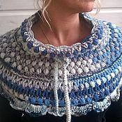 Аксессуары ручной работы. Ярмарка Мастеров - ручная работа Пелерина серо-голубая \ шарф-снуд \ накидка на плечи. Handmade.