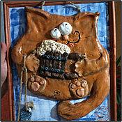 """Сувениры и подарки ручной работы. Ярмарка Мастеров - ручная работа Подарочное панно """"Кот с пивом"""". Handmade."""