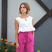 Одежда handmade. Livemaster - original item Summer top out of muslin, white top blouse cotton. Handmade.