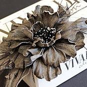 Цветы и флористика handmade. Livemaster - original item Leather flowers. Goliath Brooch