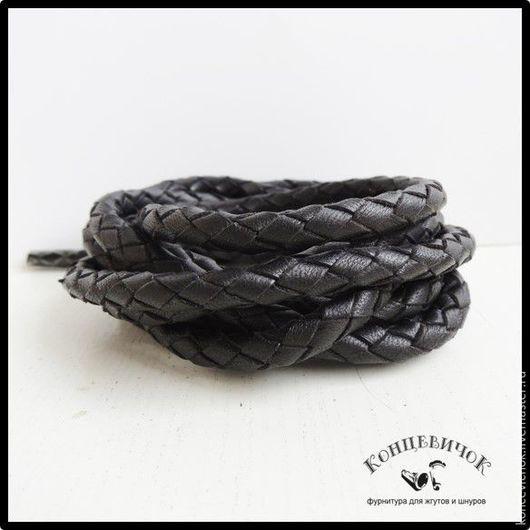 Для украшений ручной работы. Ярмарка Мастеров - ручная работа. Купить Плетенка 6мм мягкий овечий Индия. Handmade. Черный