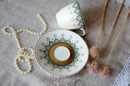 Винтажная посуда. Ярмарка Мастеров - ручная работа. Купить Винтажные кофейные пары мануфактуры Arabia. Handmade. Тёмно-бирюзовый, позолота