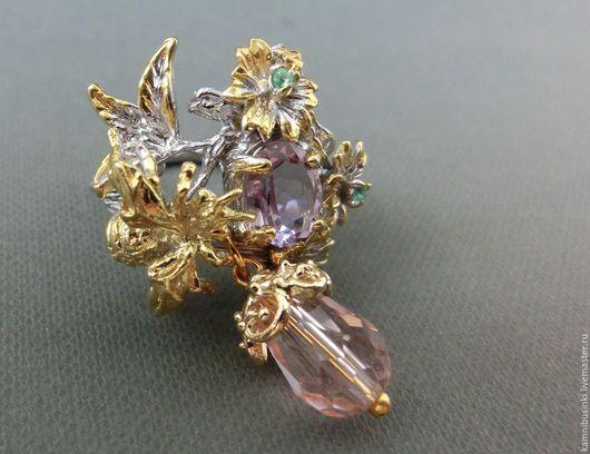 Кольца ручной работы. Ярмарка Мастеров - ручная работа. Купить 18,5 р-р кольцо с аметистом, изумрудами серебро 925 золото. Handmade.
