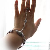 Украшения ручной работы. Ярмарка Мастеров - ручная работа Слейв браслет из серебра с голубым агатом. Handmade.