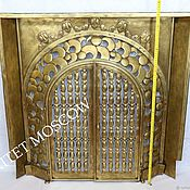 Антикварный каминный портал экран бронза Франция 1