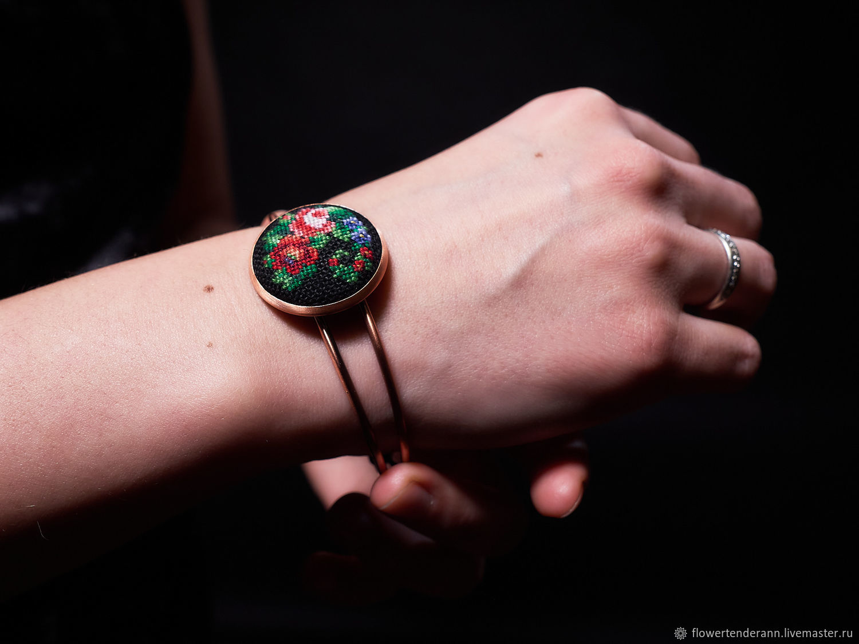 Bracelet with microfibre ' Flower arrangement', Hard bracelet, Saratov,  Фото №1