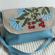 Сумки и аксессуары handmade. Livemaster - original item Leather bag. Crossbody bag with flap. Field bouquet Gol. Handmade.