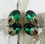 Винтаж handmade. Livemaster - original item Gorgeous Vintage Rhinestone Earrings Emerald Green. Handmade.
