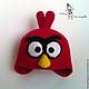 """Одежда унисекс ручной работы. Заказать Шапка, шарф, варежки """"Angry Birds Red"""". Лена Потапова (Вязать люблю). Ярмарка Мастеров."""