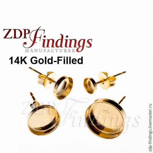 Для украшений ручной работы. Ярмарка Мастеров - ручная работа. Купить 9 размеров 4 основы Gold filled для пуссет 3,4,5,6,8, 10, 15мм 6100GF. Handmade.